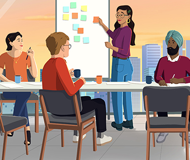illustration of people watching a presentation